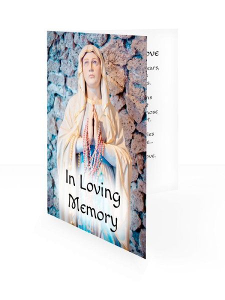 Blessed Virgin Praying - Folding memorial card template - Religious  68