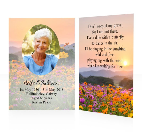 Flowers field - Memorial wallet cards template - Nature 17
