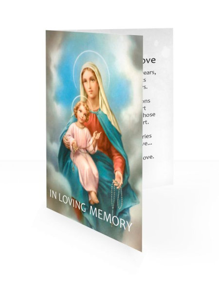 Mary&Baby Jesus - Folding memorial card template - Religious  67
