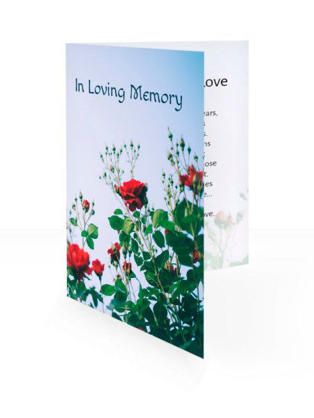Red roses - Folding memorial card template - Floral 56