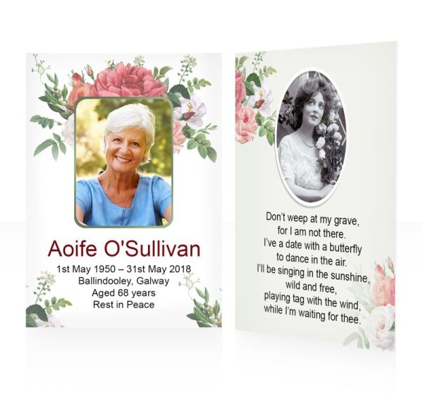 Red roses vintage - Memorial wallet cards template - Floral 55