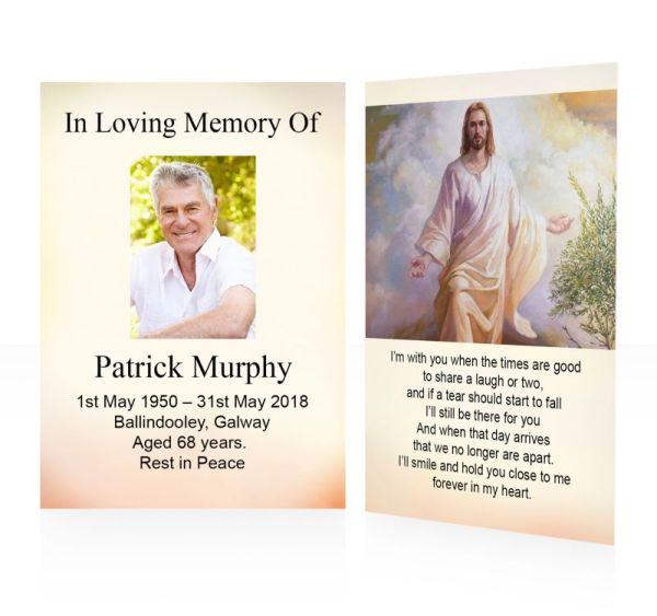 Walking Jesus - memorial wallet cards template - Religious  61