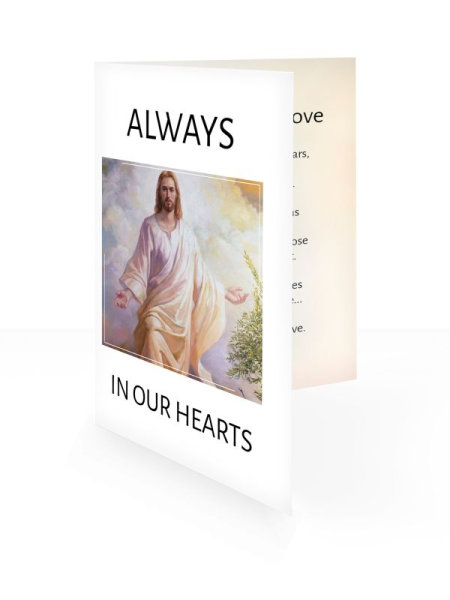 Walking Jesus - Folding memorial card template - Religious  61