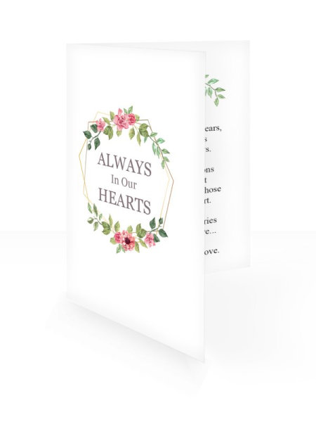 Red&Green flowers - Folding memorial card template - Floral 53