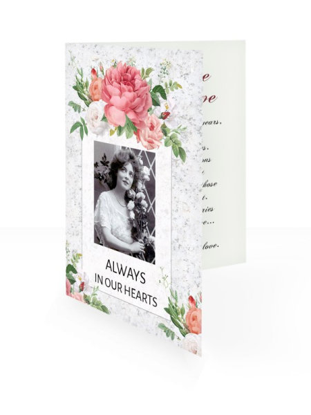 Red roses vintage - Folding memorial card template - Floral 55