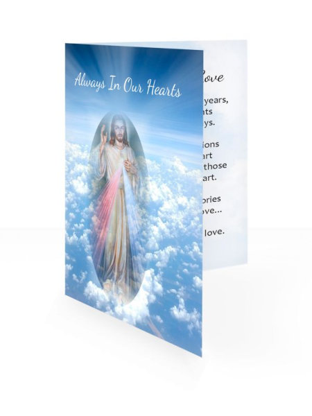 Blue sky & Jesus - Folding memorial card template - Religious  65