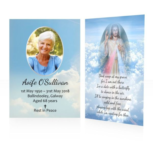 Blue sky & Jesus - memorial wallet cards template - Religious  65