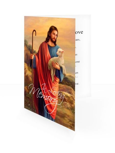 Jesus & Lamb - Folding memorial card template - Religious  62