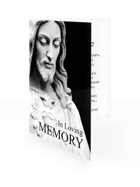 B&W Jesus statue  - Folding memorial card template - Religious  64