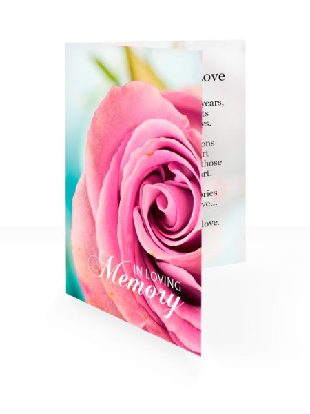 Pink rose bud - Folding memorial card template - Floral 54