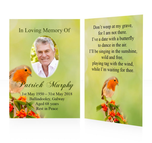 Robin - Memorial wallet cards template - Nature 19